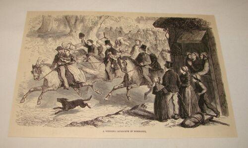 1886 magazine engraving ~ WEDDING CAVALCADE IN NORMANDY