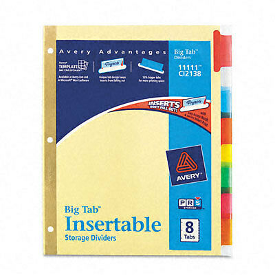 Avery Dennison Ave 11111 Worksaver Big Tab Insertable Divider 8 X
