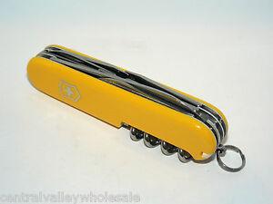 New Victorinox Swiss Army 91mm Knife Yellow Climber 53381 Y