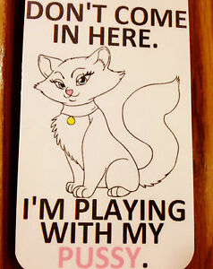 Sexy-Kitten-Adults-Door-Sign-Cat-Kitty-Toys-Pets-Only-Erotic-S-amp-M-bdsm-nude-Art