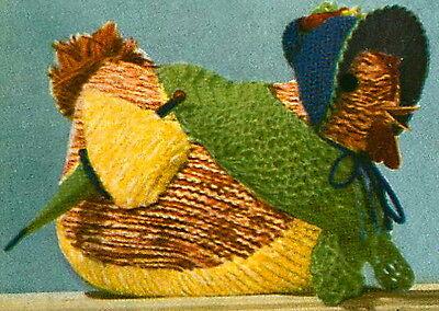 Vintage 1940s knitting pattern-cute little chicken hen toy to make