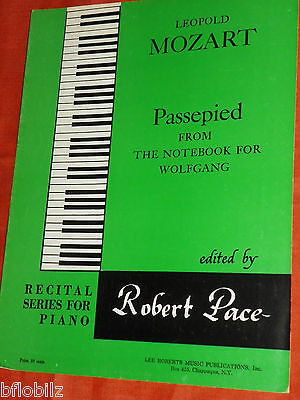 Leopold Mozart Passepied Notebook Wolfgang Recital Series Piano 1967 Sheet Music
