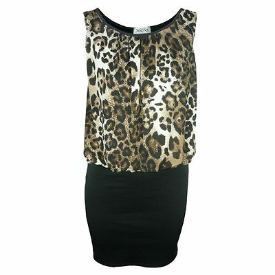 LADIES ANIMAL PRINT MINI CONTRAST 2 IN 1 SKIRT DRESS WOMENS PARTY DRESS TOP 8-14