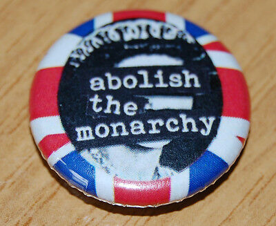 """ABOLISH THE MONARCHY"" 25MM / 1 INCH BUTTON BADGE ANTI-ROYALTY PUNK ANARCHY"