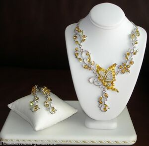 BUTTERFLY-GOLD-AUSTRIAN-CRYSTAL-SILVER-TONE-NECKLACE-WITH-EARRINGS-NEW