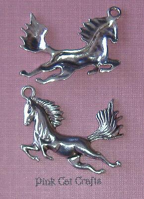 5 x Tibetan Silver HORSE WILD JUMPING REARING 40mm Charms Pendants Beads