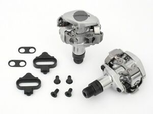 2012-Shimano-PD-M505-Silver-Mountain-Bike-MTB-Clipless-pedals-w-SPD-Cleats-Clip