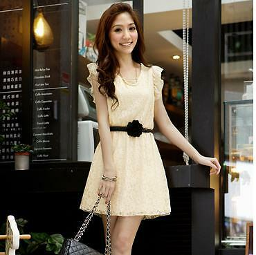 Fashion Lotus leaf Short Sleeve Crew Neck Clubwear Party Lady Lace Mesh Dress J