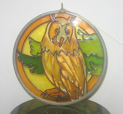 VTG METAL BOUND ROUND ETCHED & PAINTED LUCITE OWL SUNCATCHER BEAUTIFUL DETAIL