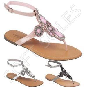 Ladies-Flat-Sandals-Womens-Fancy-Ankle-Strap-Party-Dress-Beach-Shoes-Size-3-8