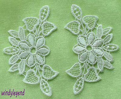 10 Pcs Beautiful White Venice Venise Lace Applique Sewing Trims DIY Craft