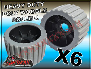x6-BOAT-TRAILER-WOBBLE-ROLLERS-4-034-WITH-22MM-BORE-GREY-RIBBED-POLYURETHANE