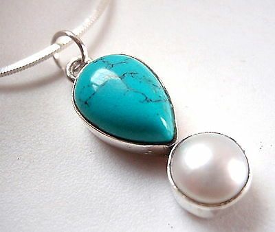 Turquoise and Pearl Teardrop Two Gem Stone 925 Sterling Silver Necklace