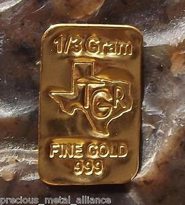 GOLD 1/3 GRAM GR G 24K PURE TGR PREMIUM BULLION BAR 999.9 FINE CERTIFIED INGOT !
