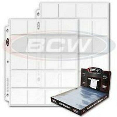 """25 BCW PRO 20-POCKET PAGES FOR 2"""" BY 2"""" CARDBOARD FLIPS SLIDES POGS COINS COUPON"""