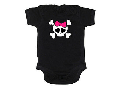 Black Girly Bow Skull Print Vest, Girl Punk Goth Baby Rockabilly Tattoo