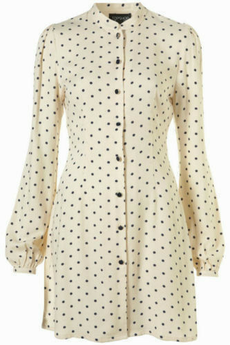 TOPSHOP Polkadot Spotted 60s Vtg Celebrity Mini Shift Shirt Dress 6 + 8 34 36 XS