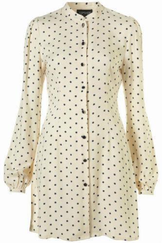 TOPSHOP Polkadot Spotted 60s Vtg Celebrity Mini Shift Shirt Dress 6 + 8 34 36 XS