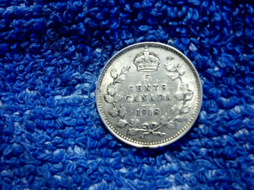 CANADA: SCARCE SILVER 5 CENTS 1918 ABOUT UNCIRCULATED!!
