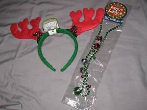 Cute-Christmas-Headband-Antlers-Holly-30-034-Necklace-Bells-Holiday-Seasonal-NEW