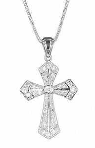 Sterling-Silver-0-925-Cross-with-Crystal-Charm-Pendant-18in-Chain-or-Necklace