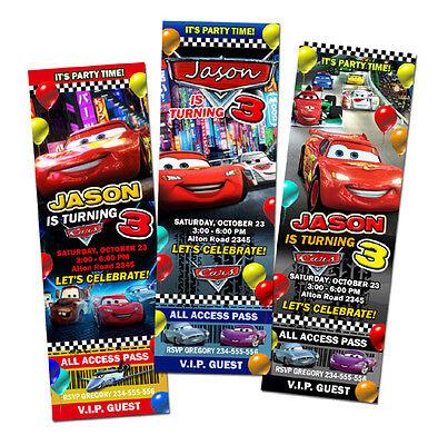 CARS DISNEY MCQUEEN 2 1 BIRTHDAY PARTY INVITATION TICKET - 9 DESIGNS ! - C71