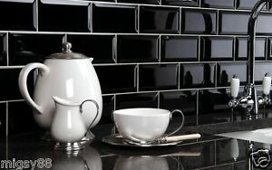 Wall Tiles Gloss Black Bevel Subway Tile 150x75mm Ing Per