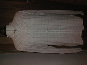 LEVIS-BRANDED-DESIGNER-WESTERN-COWBOY-COTTON-CREAM-PINK-CHECKED-SHIRT-LARGE