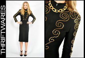Vtg-80s-Black-Gold-BAROQUE-STUDDED-KNIT-Wiggle-Sweater-MIDI-Punk-Dress-XS-S