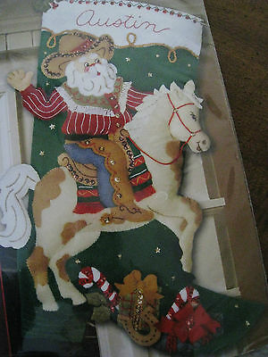 Bucilla Felt Applique Holiday Christmas Stocking Kit,COWBOY SANTA,Horse,#85468