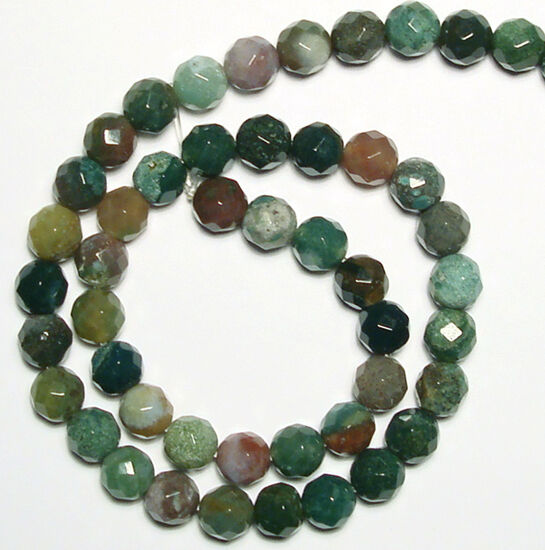 """8mm Faceted Round Moss Agate Beads 15.5"""" -- AS034"""
