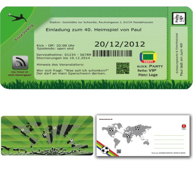 Einladungskarten Geburtstag Fussball Einladung Geburtstagseinladung 30 40  50 60
