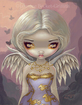 Jasmine Becket-Griffith art print SIGNED Angel in Lilac fairy clouds big eye pop