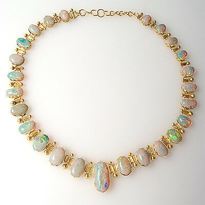 1920's Antique Natural Opal Necklace Solid 18K Yellow Gold Fine Estate Jewelry