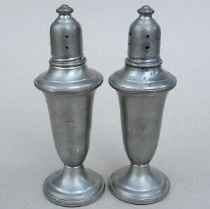 Salt & Pepper Shaker Set Empire Pewter Glass Lined Weighted #741 Vtg ...