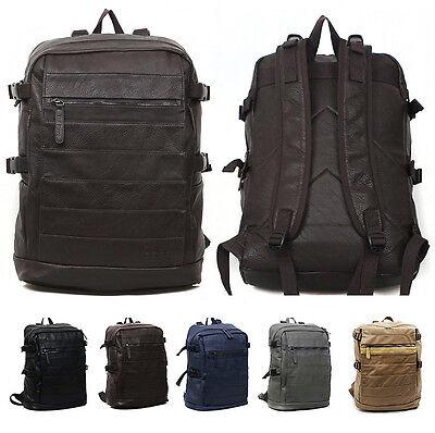 New Mens Casual Leather Bag Backpack Schoolbag for Laptop MacBook Tablet, Beige