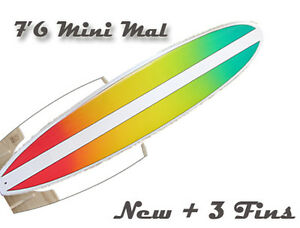 Surfboard-NEW-76-Mini-Mal-Epoxy-Gloss-finish-board-FREE-FINS