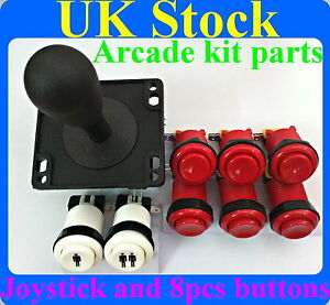 Arcade-Joystick-and-8-pcs-Arcade-buttons-kit-Multicade-MAME-Jamma-game-Red