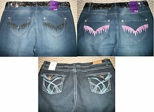 NWT WOMEN39S EMBROIDERED SEQUIN BOOTCUT DENIM JEANS PLUS