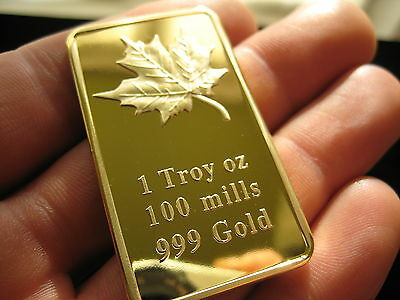 1 Oz Ounce Gold Maple Bar 100 Mills 999 24k Layered New
