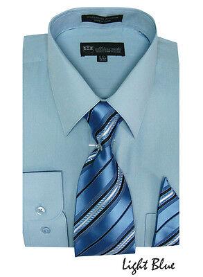 Men's Milano Moda Dress Shirt + Matching Tie + Handkerchief Set 20 UNIQUE COLORS