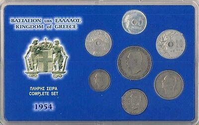 Greek coinset 1954  in case, RRR Greece