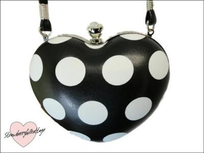 Heart shaped polka dot evening / clutch / bag with crystal clasp & long strap