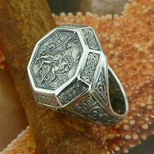 UNIQUE-STERLING-SILVER-RUSSIAN-ORTHODOX-RING-ST-GEORGE-CONQUEROR-SIZE-5-14
