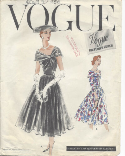 "1956 Vintage VOGUE Sewing Pattern DRESS B32"" (R497)"