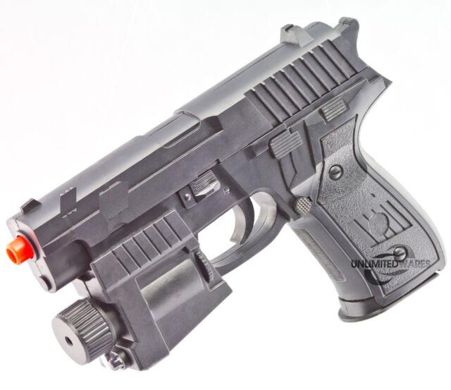 NEW P226 SPRING AIRSOFT PISTOL LED FLASHLIGHT LASER SIGHT HAND GUN w/ 6mm BBs BB