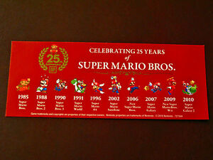 RARE-Nintendo-MARIO-25th-Anniversary-EVOLUTION-OF-MARIO-Sticker-5x2-034-PROMO