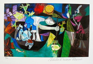 Pablo-Picasso-NIGHT-FISHING-AT-ANTIBES-Estate-Signed-amp-Numbered-Small-Giclee