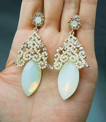 """Vintage White Opal Swarovski Crystal Earrings Wedding Earrings Bridal GP 2.75""""L"""