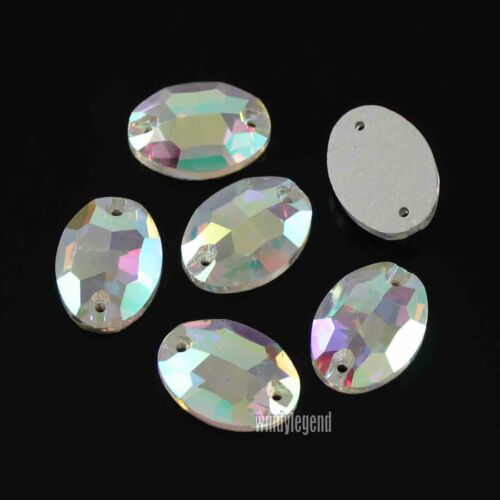 28PCS / 112PCS CRYSTAL AB FLATBACK OVAL SEWING CRAFT SEW ON RHINESTONE